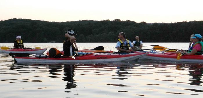 Vaughn, kayaks, group, paddling, water, lake, hill, dusk, sunset, Swartswood SP