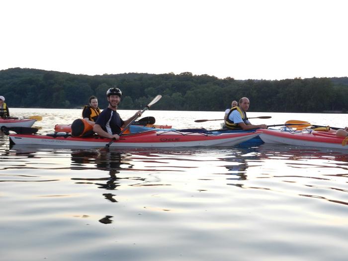 water, paddling, group, kayak, lake, Swartswood SP, Vaughn, dusk