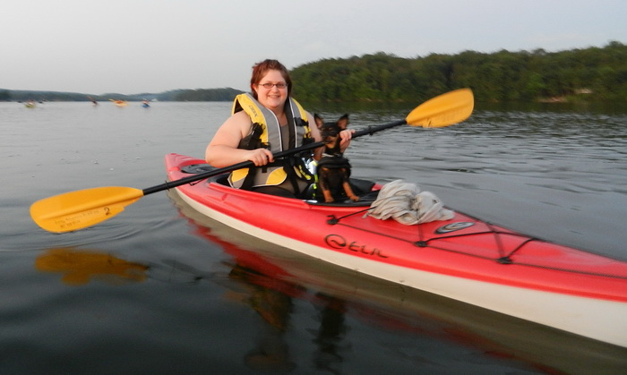 kayak, dog, paddling, water, lake, dusk, Swartswood SP