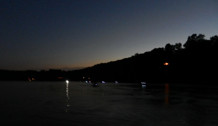 sunset, water, paddling, lights, hill, dusk, Swartswood SP
