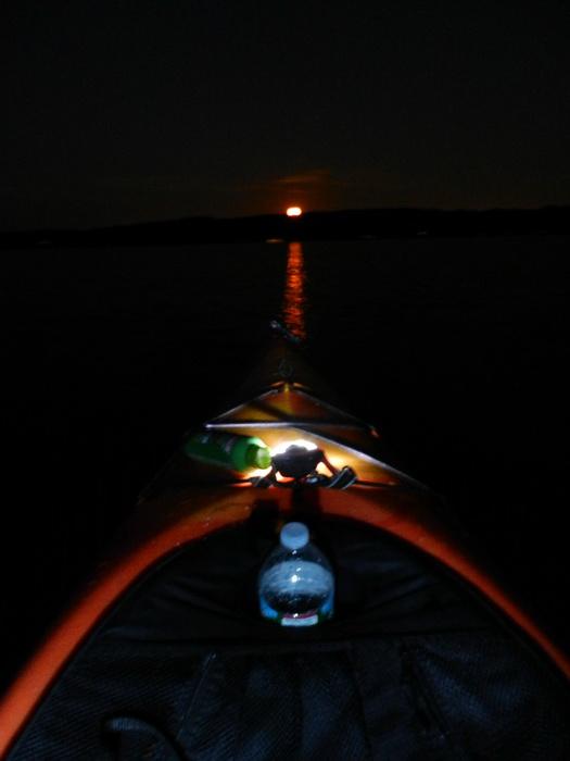 water, moon, light, night, kayak, Swartswood SP
