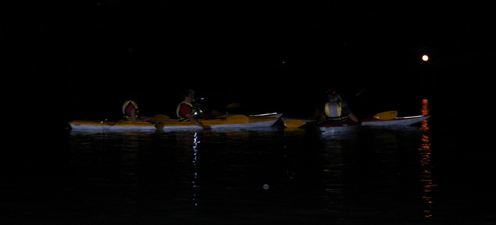 night, kayaks, paddling, moon, reflections, Swartswood SP