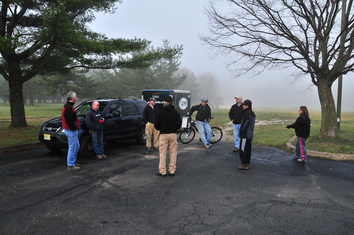 SUV, car, field, fog, group, people, trees, Mercer County Park, JORBA Trail Day, March 2012