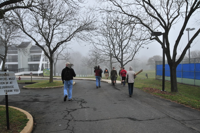 building, fence, parking lot, people, road, trail work, trees, workers, Mercer County Park, JORBA Trail Day, March 2012