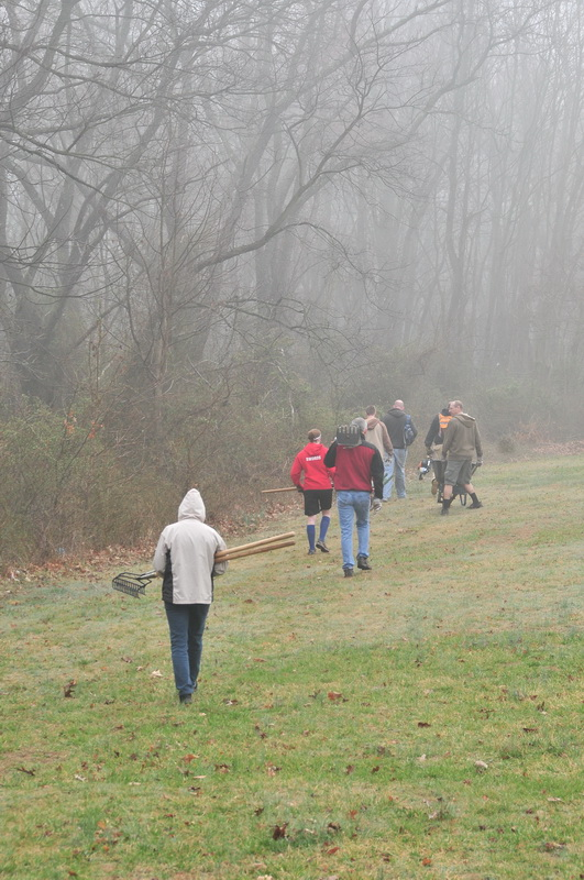 field, fog, grass, people, tools, trees, walking, Mercer County Park, JORBA Trail Day, March 2012