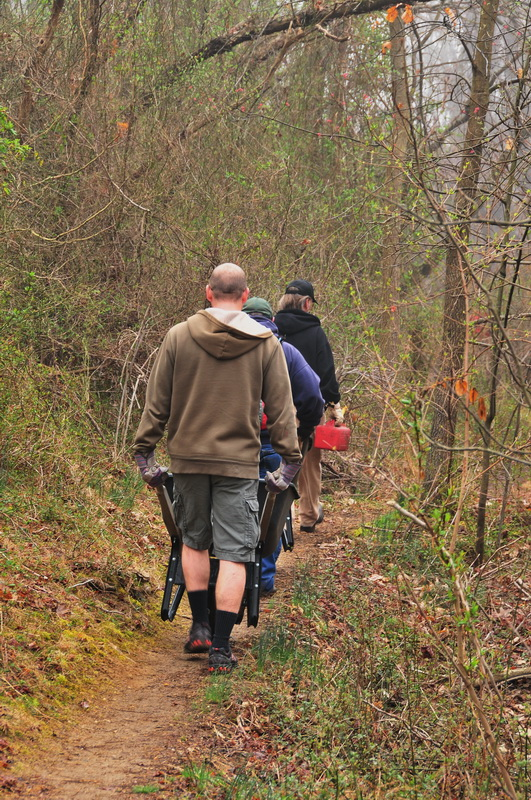 people, trail, walking, woods, workers, Mercer County Park, JORBA Trail Day, March 2012