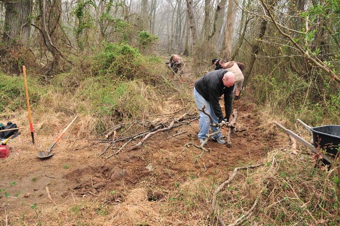 dirt, filled in trail, fog, sticks, trail worker, Mercer County Park, JORBA Trail Day, March 2012