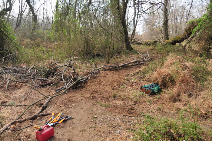 closed trail, grass, ground cover, new trail, path, sticks, tools, Mercer County Park, JORBA Trail Day, March 2012