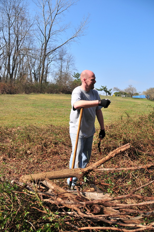 blue sky, county, field, grass, lean, logs, person, worker, Mercer County Park, JORBA Trail Day, March 2012