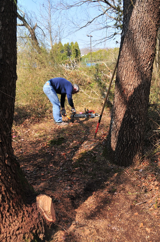 dirt, new trail, tools, trees, worker, Mercer County Park, JORBA Trail Day, March 2012