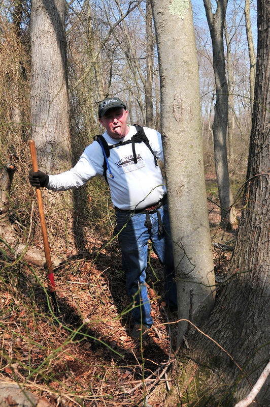 Mick, rake, tongue out, trees, woods, Mercer County Park, JORBA Trail Day, March 2012