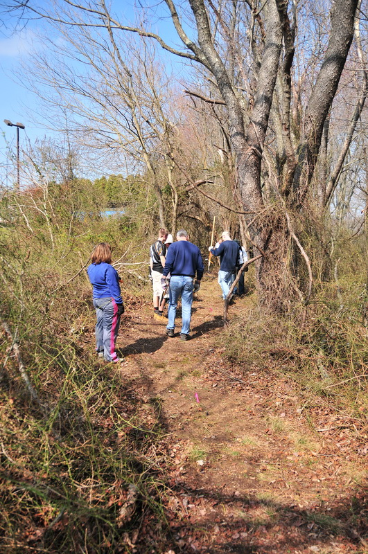 blue sky, ground cover, new trail, people, prickers, trail workers, trees, Mercer County Park, JORBA Trail Day, March 2012
