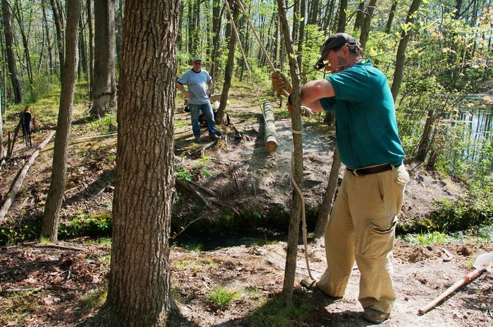 leaves, pull, rope, spring, stream, trail maintenance, trees, volunteer, water