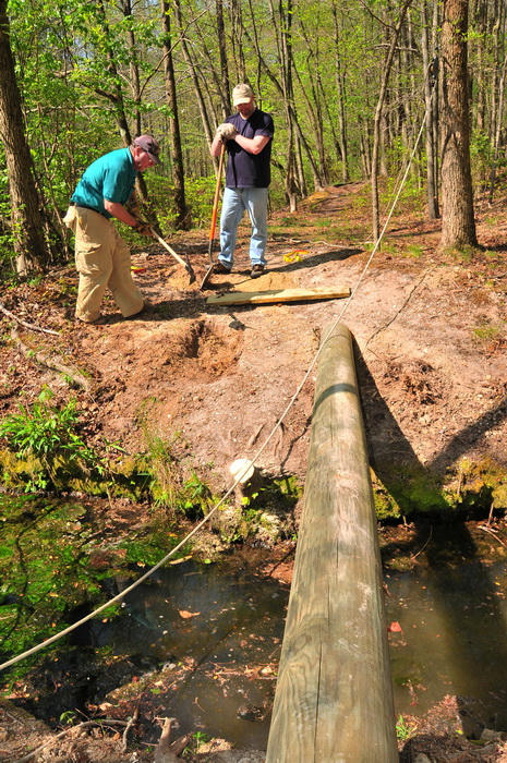 log, spring, stream, trail maintenance, trees, volunteer, water, woods