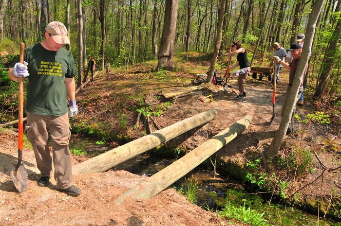 logs, spring, stream, tools, trail maintenance, trees, volunteer, water, woods