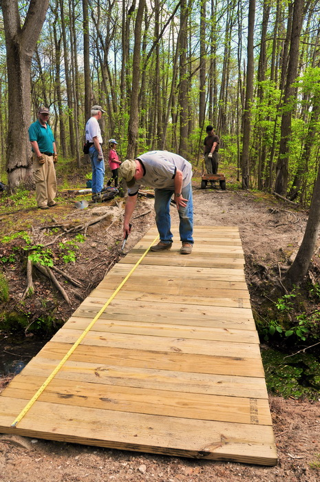 bridge, building, planks, spring, stream, trail maintenance, trees, volunteer, woods