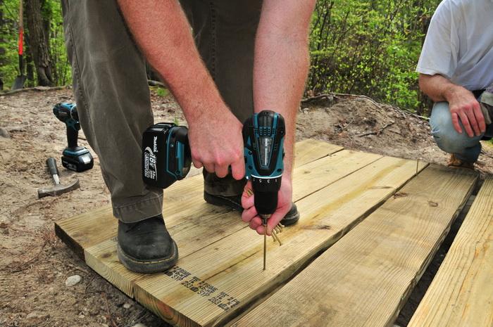 planks, drill, bridge, building, shoes, train work