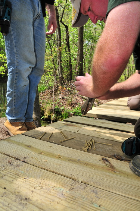 bridge, building, people, planks, tools, woods