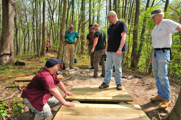 bridge, building, planks, spring, stream, trail maintenance, trees, volunteer, water