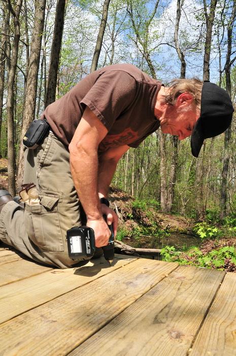 blue sky, bridge, helper, planks, tools, woods