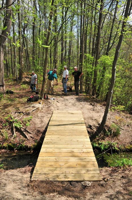 bridge, building, planks, spring, stream, trail maintenance, trees, volunteer, water, woods