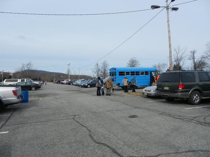 parking lot, peeople, bus, school bus, blue fsky