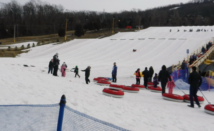 snow, hill, tubing, people