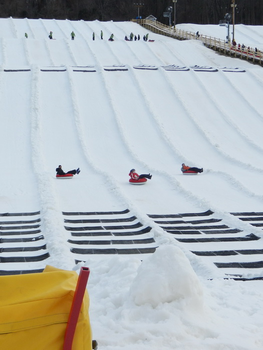 Jackie, Rob, hill, people, racing, snow, tubing, workers, Jeff