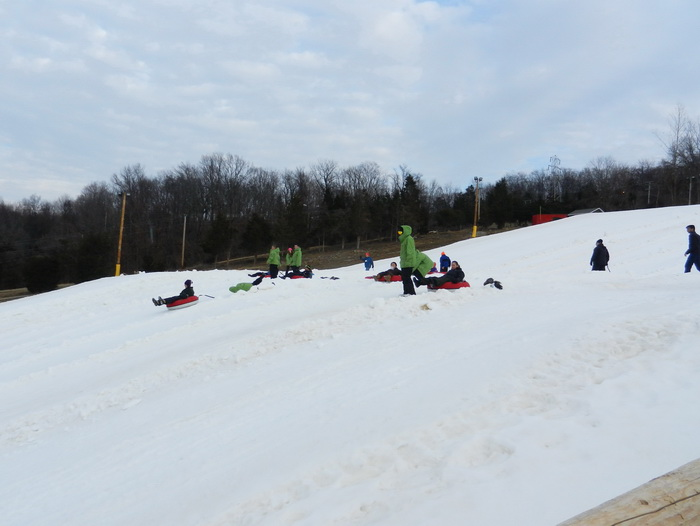 hill, snow, tubing, people